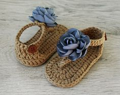 ZOE Gray Brown Baby Girl Sandals Crochet Baby by atelierbagatela