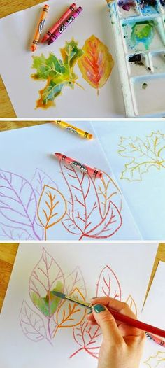 crayon and watercolor leaves. fall crafts for kids to make. DIY fall crafts for kids with leaves. Kids Crafts, Easy Fall Crafts, Crafts For Kids To Make, Art For Kids, Arts And Crafts, Fall Diy, Autumn Art Ideas For Kids, Kids Diy, Autumn Crafts For Adults