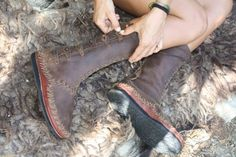 MockMock handmade leather sewn moccasin boots bead by BeniBoots, €190.00