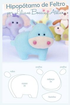 molde hippo by margarett Baby Crafts, Felt Crafts, Crafts For Kids, Felt Patterns, Craft Patterns, Sewing Crafts, Sewing Projects, Felt Templates, Baby Mobile