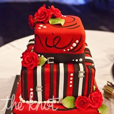 Would be nice for a bridal shower, but in the brides colors Source: Types Of Wedding Cakes, Wedding Cake Red, Red Photography, Engagement Cakes, Wedding Event Planner, Cupcake Cakes, Cupcakes, Wedding Website, Cake Designs