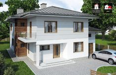 modern and functional two-storey house with an elegant architectural form. Designed to have a low inclination hipped roof compliments to the cube-like body. Elevation is finished with white walls and classic wood texture [. Two Bedroom House Design, Two Story House Design, Bungalow House Design, Modern Bungalow, Small House Design, Modern House Design, Model House Plan, House Plans, One Storey House