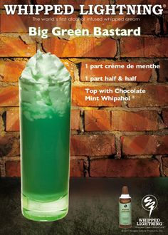 St. Patrick's Day shot with alcohol infused whipped cream. www.whipahol.com