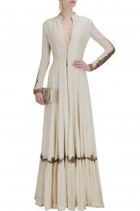 Ivory embroidered floor length anarkali jacket with digital print pants