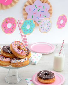 DIY donut garland - make your own party decorations - how to make doughnut party decor