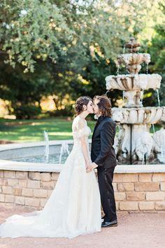 Bride and Groom kiss in front of fountain Senior Portrait Photography, Senior Portraits, Clark Gardens, Charleston Photographers, Romantic Moments, Charleston Sc, Garden Wedding, Fountain, Lawn