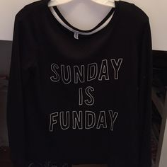 "Aeropostale Sunday Funday NWOT Crew Really cozy black crew neck sweater. Says ""Sunday Funday"". Never Worn. So fuzzy inside!! Aeropostale Sweaters Crew & Scoop Necks"