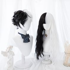 Black and white wig - unzzy Kawaii Hairstyles, Pretty Hairstyles, Wig Hairstyles, Casual Hairstyles, Medium Hairstyles, Latest Hairstyles, Cosplay Hair, Cosplay Outfits, Cosplay Wigs