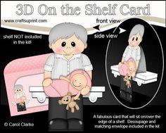 3D On the Shelf Card Kit Maynard New Grandad of Baby Girl on Craftsuprint - View Now!