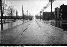 Eglinton Avenue west from Yonge Street, Toronto, April 23, 1930. #vintage #Canada #1930s #streets