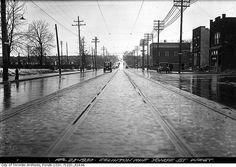 Eglinton Avenue west from Yonge Street, Toronto, April 23, 1930. #vintage #Canada #1930s #streets