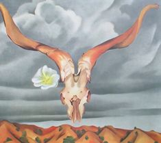 Sku: Artist: Georgia O'Keeffe Title: Ram's Head, White Hollyhock, and Little Hills Year: Unknown Signed: No Medium: Offset Lithograph Paper . Famous Artist Names, Famous Artists Paintings, Famous Artwork, Wisconsin, Lily Painting, Artist Painting, Georgia Okeefe Skull, Georgia O'keefe Art, Georgia O Keeffe Paintings