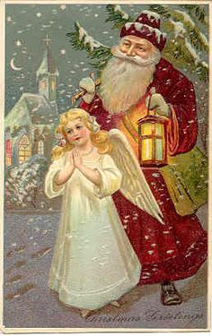 Vintage Santa and Angel