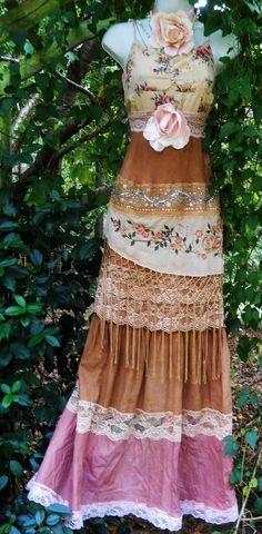 Gypsy maxi dress boho wedding rustic tassels roses beige tea stained   vintage   romantic medium   by vintage opulence on Etsy.