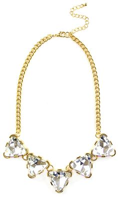 Crystal Triangles Statement Necklace #necklace #diamonds #gold #crystals #pyramid