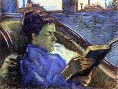 Madame Guillaumin Reading Armand Guillaumin (French, Pastel on paper. In Guillaumin married his cousin Marie-Joséphine Charreton. From this point on, he painted more. Edgar Degas, Renoir, French Impressionist Painters, Books To Read For Women, Digital Museum, Edouard Manet, Camille Pissarro, Post Impressionism, Woman Reading