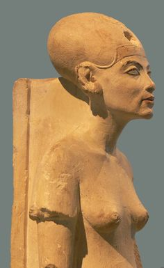 Standing-striding figure of Nefertiti, made of limestone, Amarna; New Kingdom, 18th dynasty; c. 1345 BC.