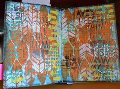 Paperie Designer/Instructor Cathie Reed Workin' lots of stencils in this super layered Art Journal page. Arrow Stencil, Chevron Stencil, Art Journal Pages, Art Journals, Visual Journals, Collage Background, Gelli Arts, Sketchbook Inspiration, Stencil Painting