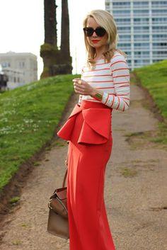 Gorgeous red peplum skirt
