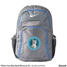 White Cute Blue Eyed Kitten In Turquoise Circles Backpack