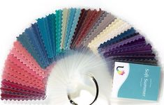 45 beautiful laminated fabric colour swatches for Soft Summer Individual colour swatches in swatch book can be re-arranged, or removed, allowing for easy colour