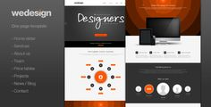 We Design - One page portfolio by ClaPat WeDesign is a a one page theme, that includes: 1. Home slider 2. About us 3. Team 4. Projects 5. Price tables 6. News 7. Contact