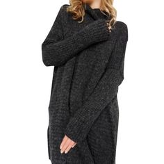 a2c515110281 Pull Long Maille Femme Pull Tunique Oversize Manches Longues Col Roulé  Ample Hiver Pull Robe Habillé