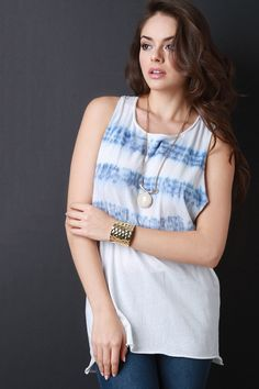 Description This  tank top  features an over-sized fit, soft knit fabrication, tie dye detail, gathered racerback, finished with raw hems. Accessories sold separately. Made in U.S.A. 100% Cotton.   Measurement     Size  Bust  Hem  Length      S  16  21  30      M  17  22  31      L  18  23  32     | Shop this product here: spree.to/asvc | Shop all of our products at http://spreesy.com/steppy    | Pinterest selling powered by Spreesy.com
