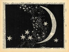 "Vintage Dictionary Print ""The Moon and Stars"" Upcycled Recycled Antique Book Print - Outer Space Constellations Night Sky"
