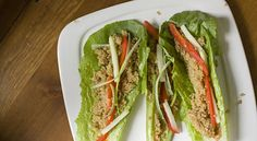 Quinoa Lettuce Wraps - This is my kinda food! I'd mix the quinoa with some ground chicken, a la Pei Wei's minced chicken lettuce cups.
