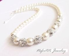 Wedding necklace pearl bridal necklace by nefertitijewelry2009