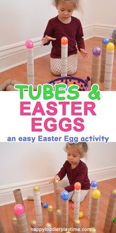 Tubes and Easter Eggs is part of Kids Crafts Preschool Easter - This is the easiest Easter egg activity ever! You only need 2 things cardboard tubes and Plastic Easter eggs plus 1 excited kid! Build, knock them down, repeat! April Preschool, Preschool Activities, Preschool Kindergarten, Easter Activities For Toddlers, Spring Preschool Theme, Young Toddler Activities, Toddler Learning, Toddler Fun, Toddler Preschool