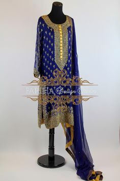 BLUE WITH ANTIQUE GOLD WORK