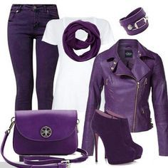 Purple Outfit Collage! (Purple Leather Jacket, Jeans Etc.)