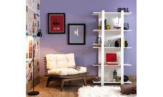 Conjunto para Sala de Estar com estante e poltrona Nogueira/Branco - Caaza