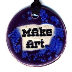 Make Art Ceramic Necklace In Purple and Blue by surly on Etsy, $20.00