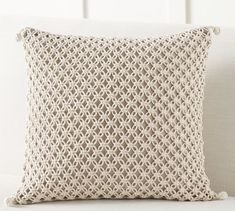Find throw and accent pillows from Pottery Barn to easily update your space. Shop our pillow collection to find decorative pillows in classic styles, prints and colors. Tapetes Diy, Diy Pillow Covers, Macrame Knots, New Furniture, Pottery Barn, Decorative Pillows, Weaving, Throw Pillows, Accent Pillows