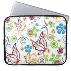 Colorful Butterflies And Flowers Pattern Laptop Computer Sleeves