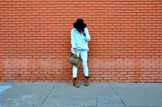 VP Style // Button-Down: Leith // White Denim: DL1961 // Hat: Rio Ritz // Booties: Sam Edelman // Bag: Vintage Coach (similar here) // Necklace: Nomad Gypsy Jewels // Bracelets: Chan Luu and Stella & Dot// Watch: Michele // Street Style // Fall White // White After Labor Day