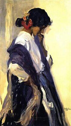 "oldpainting: ""Joaquin Sorolla y Bastida - A Gypsy by Irina Joaquín Sorolla y Bastida was a Spanish painter. Sorolla excelled in the painting of portraits, landscapes, and monumental works of social. Spanish Painters, Spanish Artists, Figure Painting, Painting & Drawing, Spirit Art, Figurative Kunst, Illustration Art, Illustrations, Claude Monet"