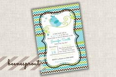 Boy Birdy Baby Shower Invitation by beenesprout on Etsy
