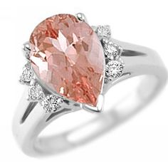 Jewelry Point - 3.18ct Peach Pink Morganite Diamond Pear Shape Engagement Ring, $1,150.00 (http://www.jewelrypoint.com/3-18ct-peach-pink-morganite-diamond-pear-shape-engagement-ring/)