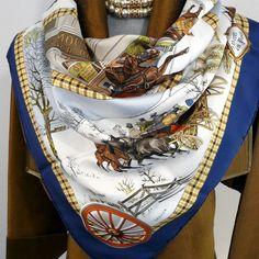 Authentic Vintage Hermes Silk Scarf L'Hiver en Poste 1975