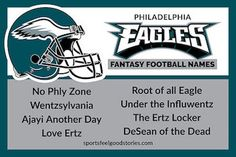 "Eagles Fantasy Football Names including the ""Root of all Eagle"", ""Love Ertz"" and ""Under the InfluWentz. Cool Fantasy Football Names, Cool Fantasy Names, Fantasy Football League, Nfc East Teams, 32 Nfl Teams, Football Team Names, Football Humor, Football Season, Desean Jackson"