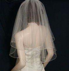 White Wedding Veils Bridal Veil 2 Tier Elbow  by BellaBridalVeils, $54.00
