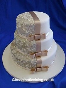 contrast wedding cake ~ I might change the ribbon into a pale pink :3