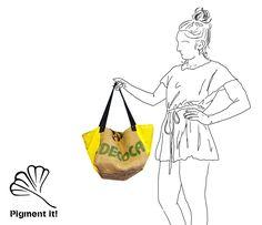 """Cabas """"Heure d'été"""", Grand sac à main réversible en toile de jute de café recyclé, cabas, sac à main de la boutique Pigmentit sur Etsy"""