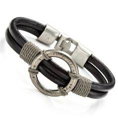 Stunning Mens Black Roman Style Leather Steel Bracelet Cuff (Jewelry) http://www.amazon.com/dp/B0057VZJ9Y/?tag=mnnean-20 B0057VZJ9Y