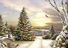 Christmas Morning Evergreen  Box of 16 Alan Giana Christmas Cards >>> Read more reviews of the product by visiting the link on the image. (This is an affiliate link)