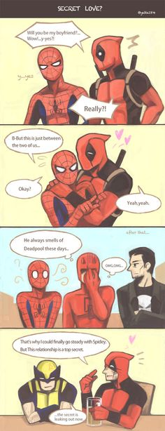 """What is the secret?"" Spideypool's secret keeping ""What is the secret?"" Spideypool's secret keeping Avengers Memes, Marvel Memes, Marvel Dc Comics, Marvel Avengers, Spideypool Comic, Superfamily, Marvel Universe, Infinity War, Deadpool X Spiderman"
